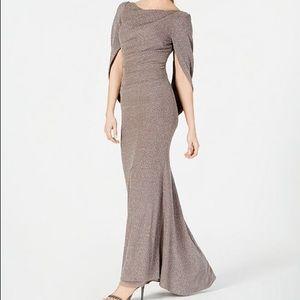 Betsy & Adam   Draped-Sleeve Metallic Gown